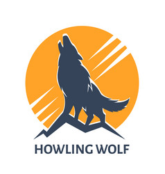 howling wolf emblem vector image