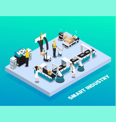 Isometric smart industry colored composition vector