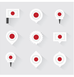 Japan flag and pins for infographic and map design vector