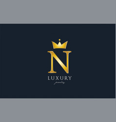 jewelry gold n alphabet letter logo icon creative vector image