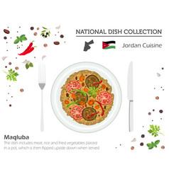 Jordan cuisine middle east national dish vector