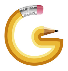 Letter g pencil icon cartoon style vector
