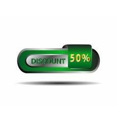 Long green 50 percent discount button vector image
