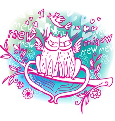 Love sketchy with cat vector image