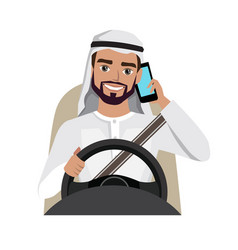 Man driving a car talking on the phone vector