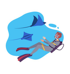 Man in scuba diving suit and aqualung swimming vector