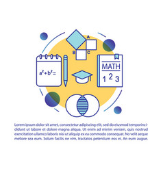 Mathematics online course article page template vector
