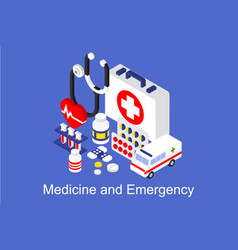Medicine and emergency banner with medical vector