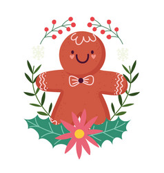 merry christmas gingerbread cookie flower holly vector image