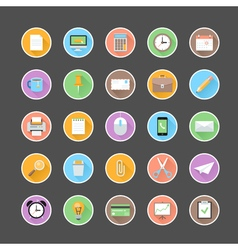Modern flat office icons set with long shadow vector