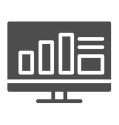 monitor with graph solid icon computer with chart vector image