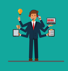 Multitasking successfull businessman at work in vector