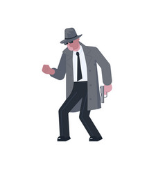 Mysterious man with a pistol sneaks vector