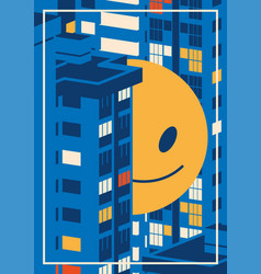 nigth cityscape and giant smiley emoji between the vector image