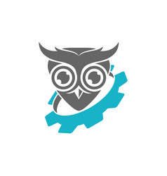 Owl gear machine logo design template isolated vector