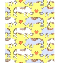 Pattern with colorful rhinoceroses vector