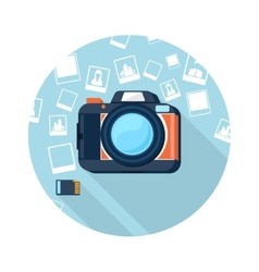 Photo camera with pictures vector image