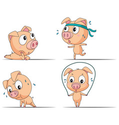 pig doing different exercises vector image