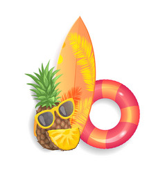 Pineapple surfboard set icons vector