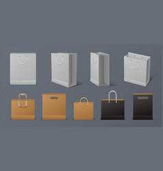 realistic paper bag blank reusable shopping white vector image