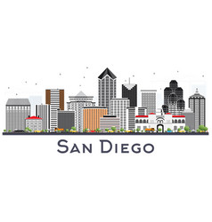 San diego california city skyline with gray vector
