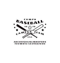 sans serif font and emblem of baseball team vector image