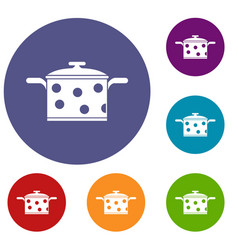 Saucepan with white dots icons set vector