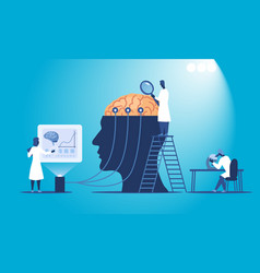 Scientists researching human brain vector
