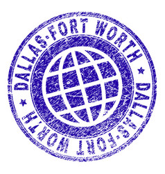 Scratched textured dallas-fort worth stamp seal vector