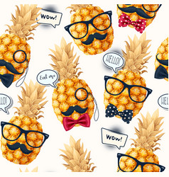 Seamless pattern with high detailed pine apple vector