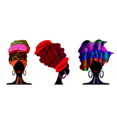 Set african scarf portrait afro women in a turban vector