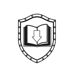 Silhouette shield with open book and arrow vector
