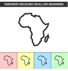 simple outline transparent africa continent shape vector image