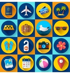 Travel and tourism icon set Flat designed style vector