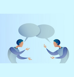 Two abstract businessman talking chat box bubble vector