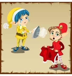 Two elf character for household chores vector image