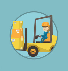 warehouse worker moving load by forklift truck vector image