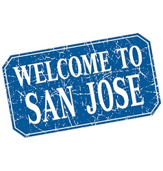 Welcome to San Jose blue square grunge stamp vector