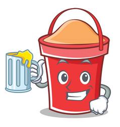 with juice bucket character cartoon style vector image vector image