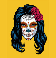 women on sugar skull make dia de los muertos vector image