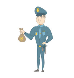 Young caucasian policeman holding a money bag vector