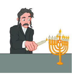 young jewish man with candle in his hand lights vector image