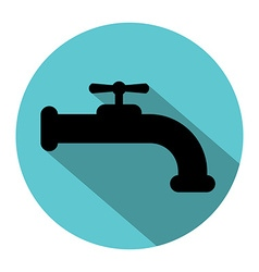 Faucet silhouette with long shadow vector image vector image