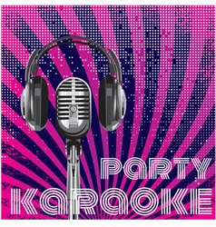 microphone and headphones for karaoke party vector image