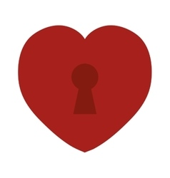 red heart love keyhole icon vector image