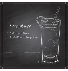 Screwdriver scetch cocktail on black board vector image vector image