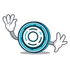 Waving aion coin character cartoon vector