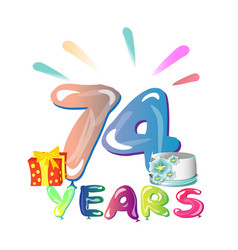 74 years anniversary celebration greeting card vector image vector image