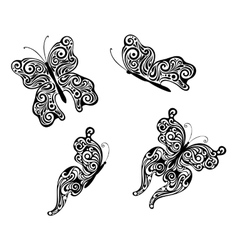 Abstract flying butterflies vector image