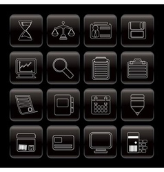 line business and office icons vector image